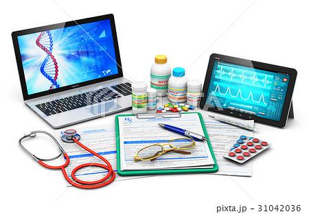 Medical supplies, prescription forms and computer 31042036