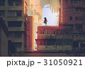 mystic girl stands on a rooftop of an old building 31050921