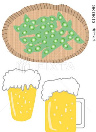 ビールと枝豆 イラストのイラスト素材 [31063069] - PIXTA