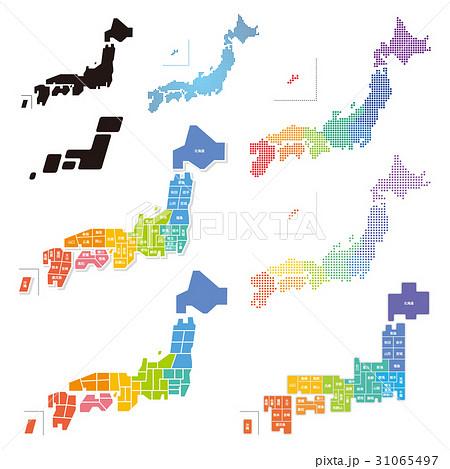 日本地図 デザイン セット 31065497