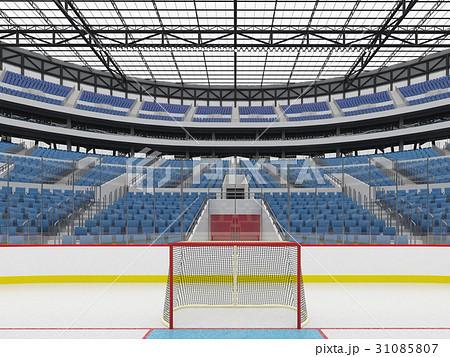 Beautiful modern ice hockey arena with blue seats 31085807