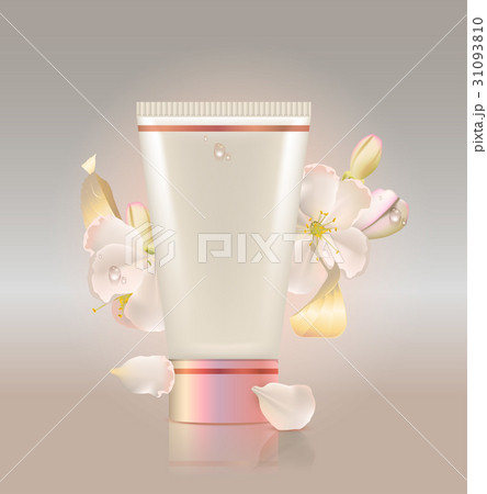 Tube for cosmetic and flowers apple treeのイラスト素材 [31093810] - PIXTA
