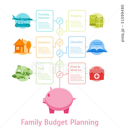 cartoon monthly expenses family budget planningのイラスト素材