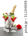 Champagne strawberries red rose white background 31104699