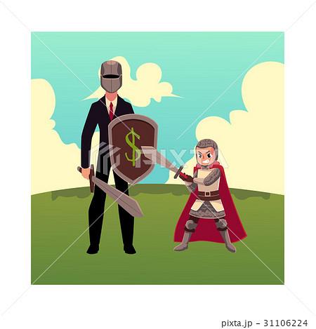 Businessman as knight with helmet, sword, shield 31106224