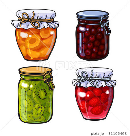 Apricot, cherry, strawberry and kiwi jam 31106468