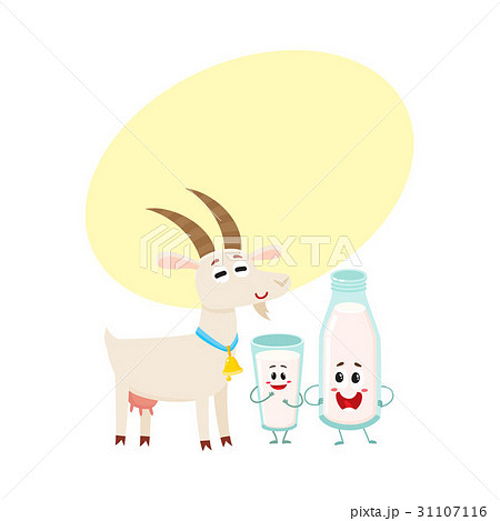 Farm goat and milk bottle characters with smiling 31107116