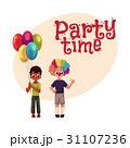 Kids at birthday party, holding balloons, wearing 31107236