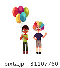 Kids at birthday party, holding balloons, wearing 31107760