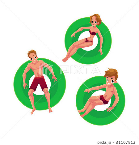 Caucasian girl, woman, man and boy floating on 31107912