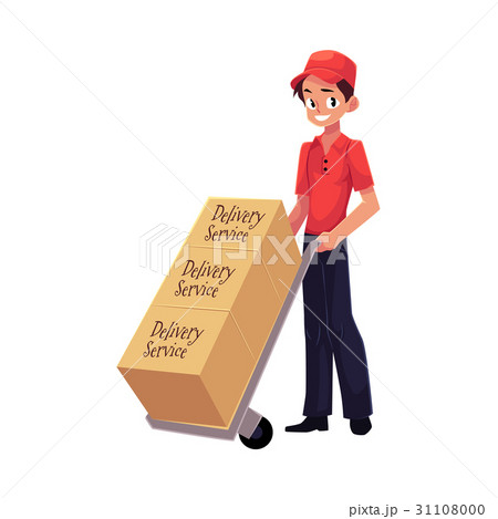 Courier, delivery service worker, hand cart, dolly 31108000