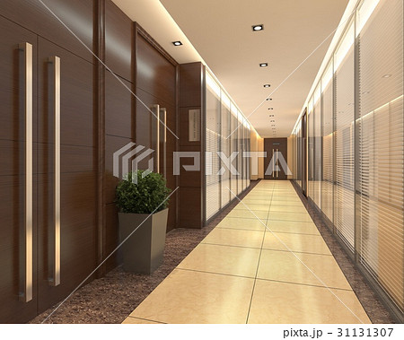 Interior Modern Hotel Corridor 3D Illustration 31131307