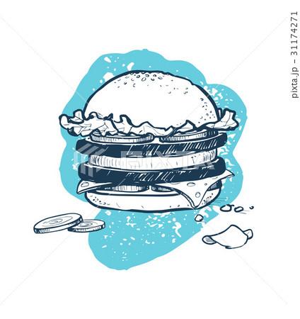 Hamburger hand drawn vector iconのイラスト素材 [31174271] - PIXTA
