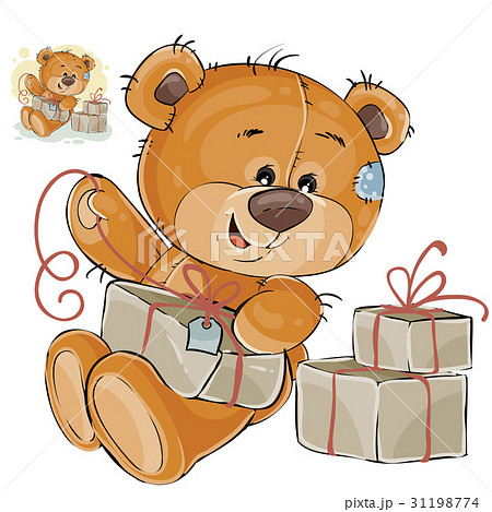 Vector illustration of a brown teddy bear tie a 31198774