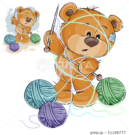 Vector illustration of a brown teddy bear holding 31198777