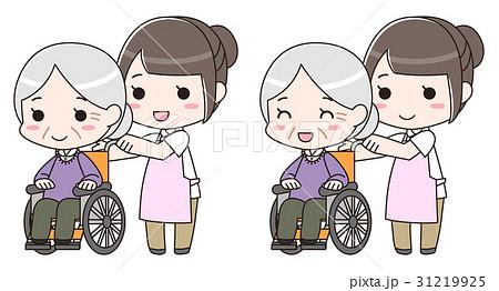 老人 高齢者 車椅子 介護士 看護師 笑顔 イラスト 31219925