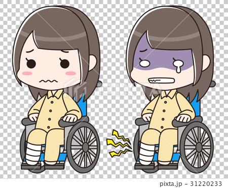 足の骨折・捻挫・怪我で包帯を巻き入院で車椅子に乗る女性。交通事故の痛みで泣く 31220233