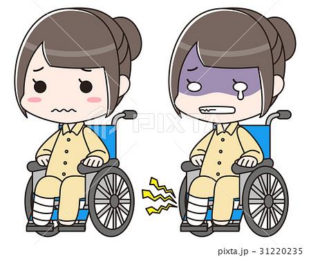 足の骨折・捻挫・怪我で包帯を巻き入院で車椅子に乗る女性。交通事故の痛みで泣く 31220235
