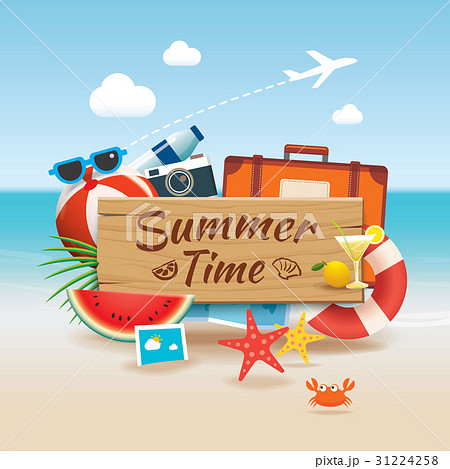 summer time background banner design templateのイラスト素材