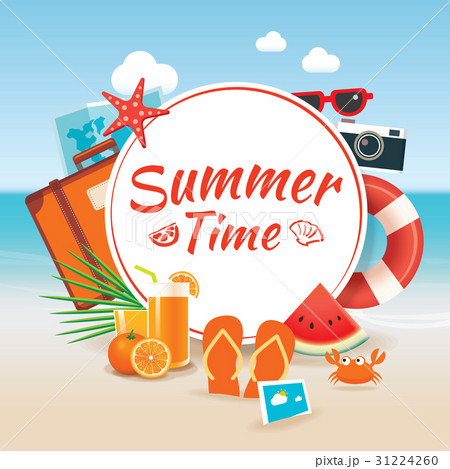 summer time background banner design template のイラスト素材