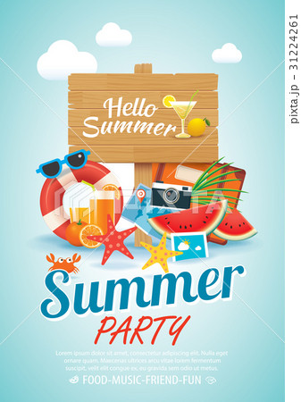summer beach party invitation poster background のイラスト素材