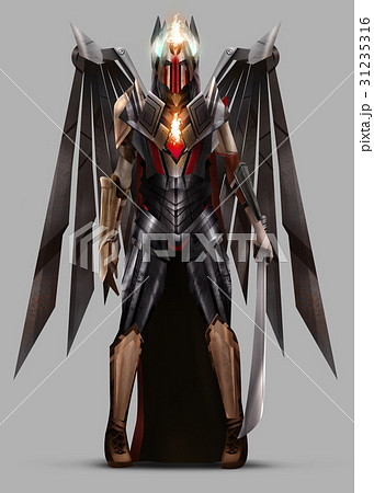 angel warrior queen standing in armor のイラスト素材 31235316 pixta