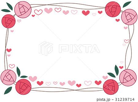 バラのフレーム ハート ピンク 31239714