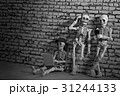 Three skeletons with smartphone and laptop 31244133