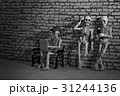 Three skeletons with smartphone and laptop 31244136