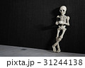 A skeleton leaning on a wall with smartphone 31244138