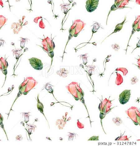 Watercolor seamless pattern with buds of rose 31247874