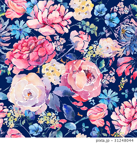 Watercolor seamless pattern with hrysanthemumsのイラスト素材 [31248044] - PIXTA