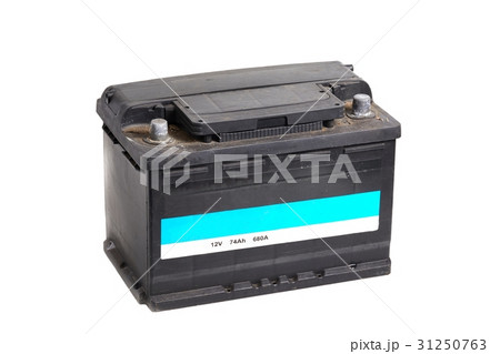 Car battery on whiteの写真素材 [31250763] - PIXTA