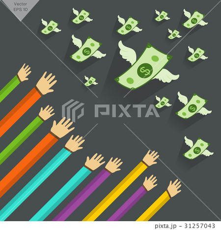 Hand and  Money   illustration with wings flyingのイラスト素材 [31257043] - PIXTA