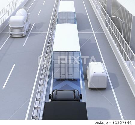 自動運転トラックの隊列走行のコンセプトイメージ 31257344