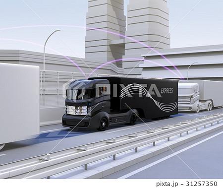 自動運転トラックの隊列走行中の通信イメージ 31257350