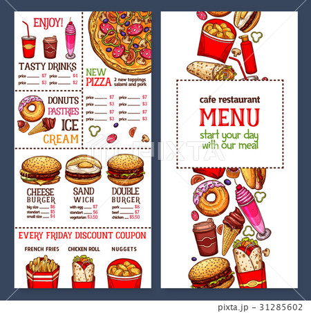 vector fast food restaurant menu templateのイラスト素材 31285602