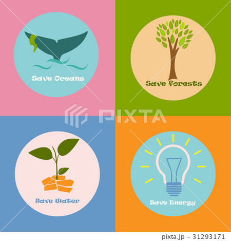 Colorful eco poster with different conceptions ofのイラスト素材 [31293171] - PIXTA