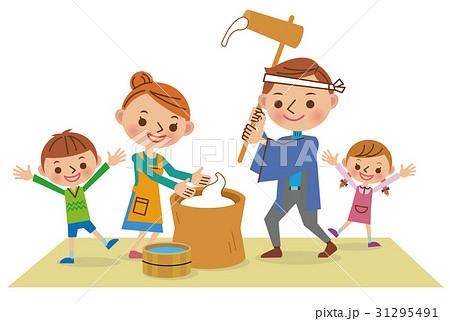 餅つきする家族 31295491