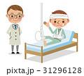 足を骨折して入院している男性患者と医師 31296128