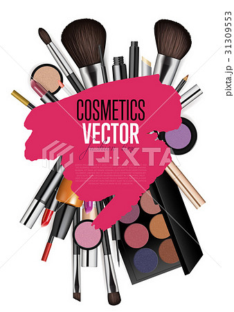 Cosmetic Products Assortment Realism Vector Banner 31309553