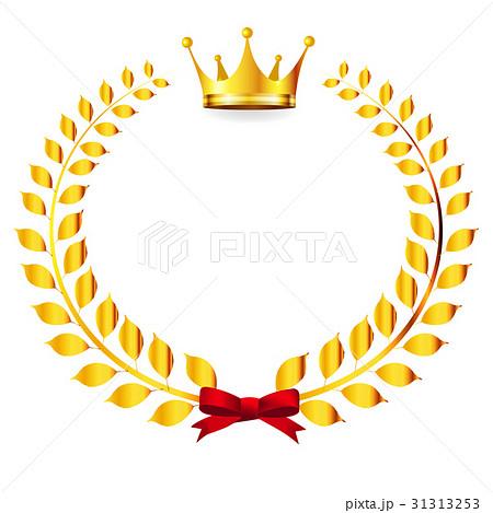 王冠 ローレル 金 アイコンのイラスト素材