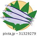 竹ざる(丸型)にサンマ、笹 31329279