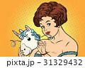 ユニコーン 女性 お面のイラスト 31329432