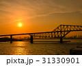 夕陽 夕暮れ 東京湾の写真 31330901