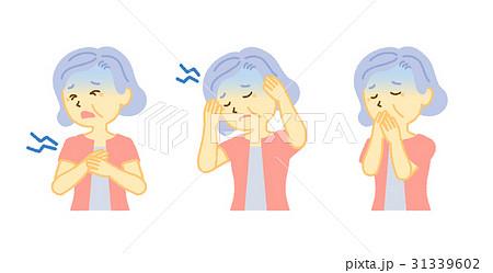 シニア女性 体調不良 心臓が痛い 頭痛 吐き気