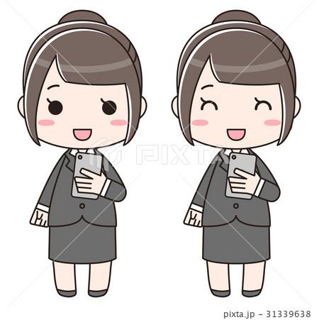 スマートフォンを持つ笑顔のスーツ女性 31339638