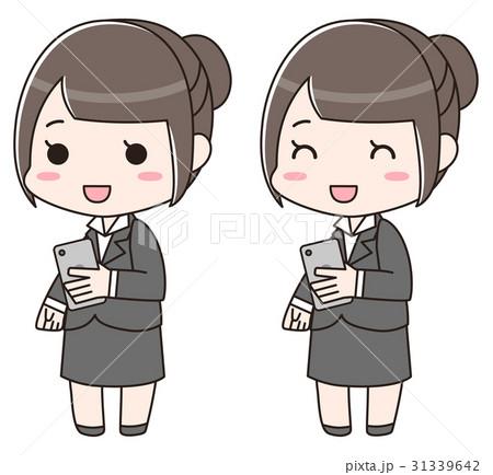 スマートフォンを持つ笑顔のスーツ女性 31339642