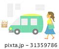 車と女性(白背景) 31359786