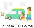車と親子(白背景) 31359790